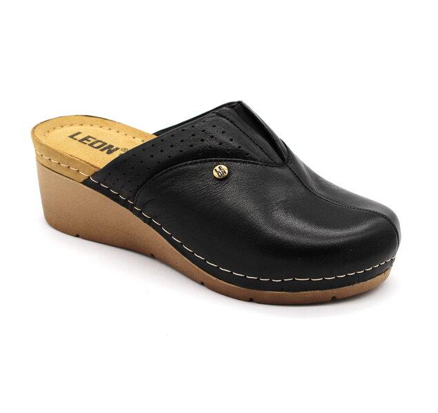 f895e6de4842 Leon 1002 Dámska zdravotná obuv - Klinový opätok - Čierna