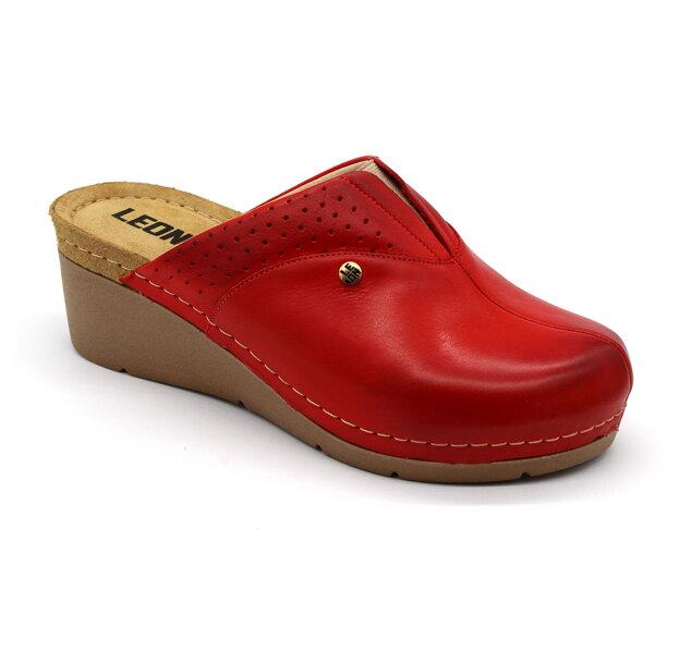 6382737974 Leon 1002 Dámska zdravotná obuv - Klinový opätok - Červená